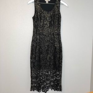 San Souci Worn Once Lace Black and Gold Midi Dress